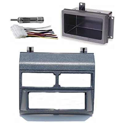 Custom Install Parts Blue Complete Single Din Dash Kit + Pocket Kit + Wire Harness + Antenna Adapter Compatible with Select 1988-1996 GMC Chevy: Car Electronics