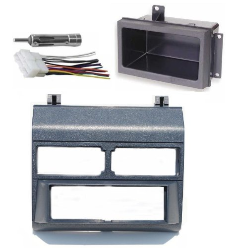 1988-1996 Blue Chevrolet & GMC Complete Single Din Dash Kit + Pocket Kit + Wire Harness + Antenna Adapter. (Chevy - Crew Cab Dually, Full Size Blazer, Full Size Pickup, ()