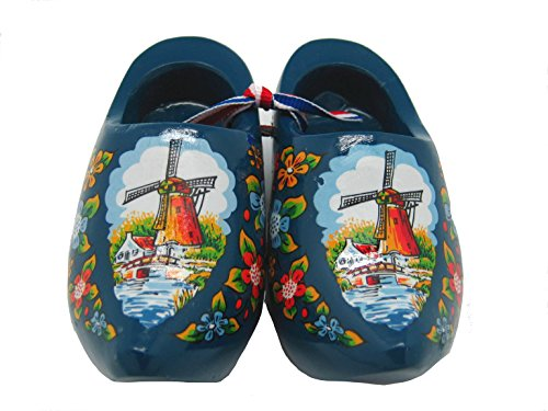Essence of Europe Gifts E.H.G Decorative Wooden Shoe Clogs Dutch Landscape Design Blue (4