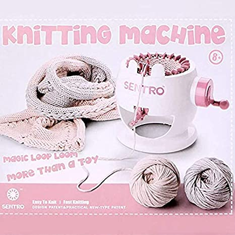 22//40//48 Needles Smart Weaving Round Loom Knitting Machines Knitting Board Rotating Double Knit Loom Machine Kit for Adults//Kids DIY Knit Scarf Hat Sock 22PINS, White Daley Knitting Machine