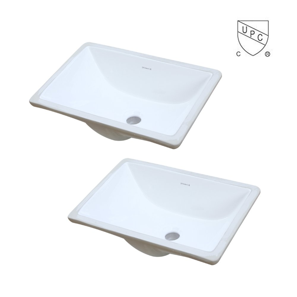 BOHARERS BC2001C-2 Two Pack Undermount Rectangular Lavatory Vitreous China Sink, White 18-Inch by BOHARERS