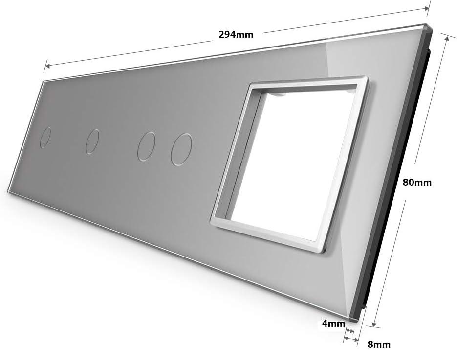 LIVOLO Nur Glasblende 3 Fach VL-C7-C1//C1//SR-15 Grau