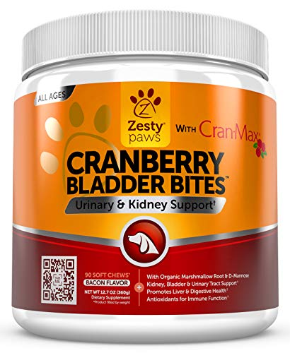 Cranberry for Dogs – Urinary Tract UTI & Kidney + Bladder Support – UT Incontinence + Immune & Digestive Dog Supplement – D-Mannose + Organic Marshmallow & Licorice – Bacon Flavor – 90 Chew Treats