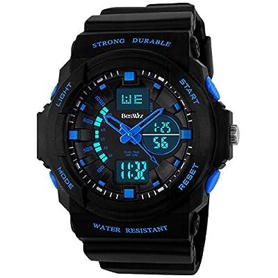 BesWLZ Multifunction Digital Water Resistant Dual Time Mens Wristwatch Blue