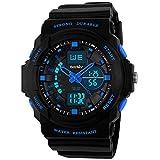 BesWLZ Unisex Fashion Sport Watch Digital Water Resist Dual Time Multifunction Alarm Led Womens Mens Wristwatch Blue