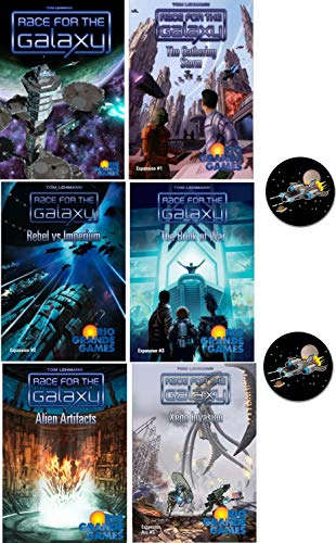 Race for the Galaxy Card Game Bundle of Base Game Plus 5 Expansions and 2 Space Fighter Buttons (Renewed) (Race For The Galaxy Rebel Vs Imperium)