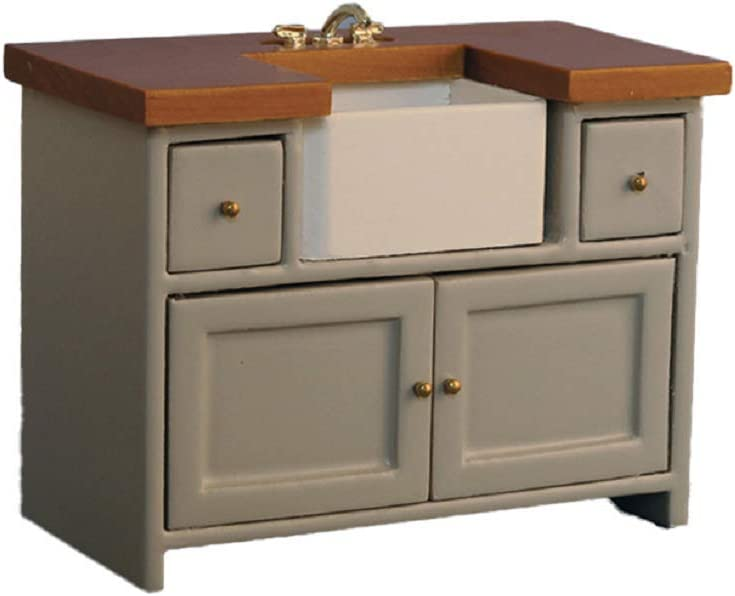Dolls House Grey & Pine Sink Unit with Belfast Sink Modern Kitchen Furniture