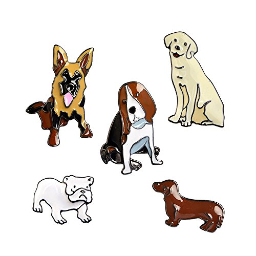 Fashion Cartoon Enamel Brooch Pins Set for Unisex Child Women's Clothing Decorate (Lovely Dogs Set) (Womens Pins)