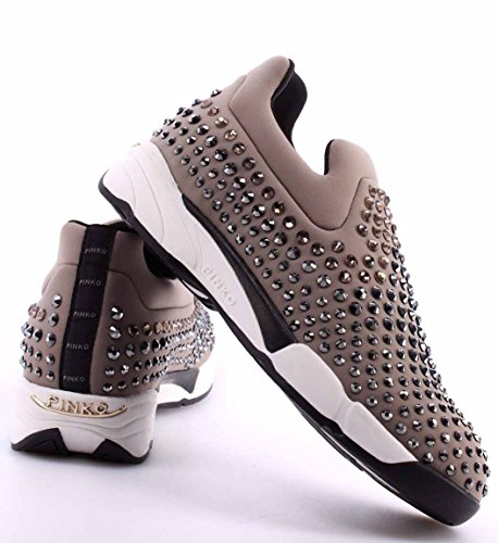 Sneakers Baby PINKO Grey Mujer Shine Zapatos On Gem Neoprene Griss Slip Strass f4qag