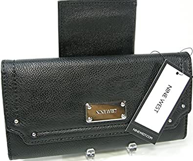 Nine West Lorri Checkbook Secretary Wallet (Black)