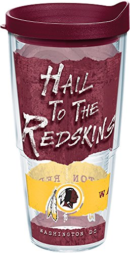 Tervis 1227663 NFL Washington Redskins NFL Statement Tumbler with Wrap and Maroon Lid 24oz, Clear