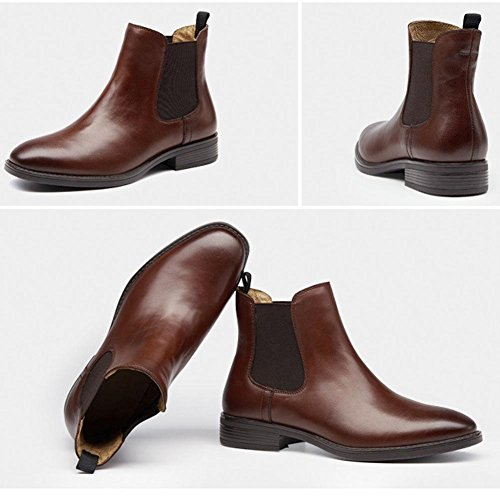 wdjjjnnnv Women Ankle Martin Boots Chelsea Leather Flat chunky heel Faux Plus Velvet Thicken Lined Warm Casual Comfort Shoes BROWN-41 6MWKqDn