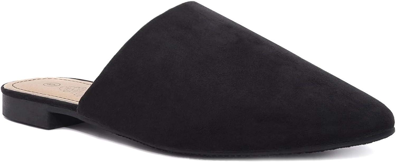 Charles Albert Women'S niedrig Slip auf Mule Comfortable Slides-Vegan Suede-Flat Slides für Women