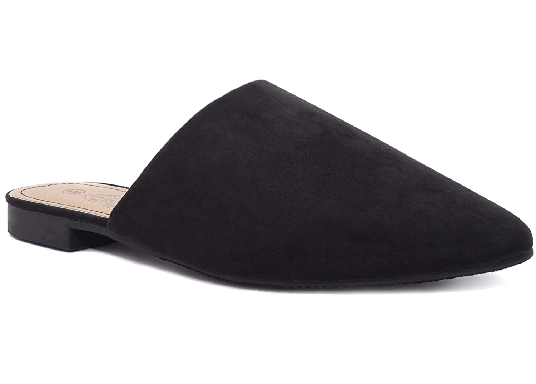 28c58301baf67 Charles Albert Women's Low Slip On Mule Comfortable Slides-Vegan Suede-Flat  Slides for Women