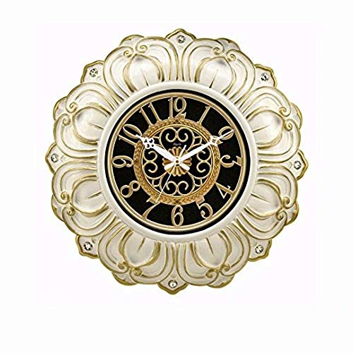 SMC 23-inch Super Large Living Room resin Wall Clock Silent Sweep Second Quartz Movement Battery Operated Wall Clocks with Decorative Border (Porcelain White - Gold) - Resin White Clock