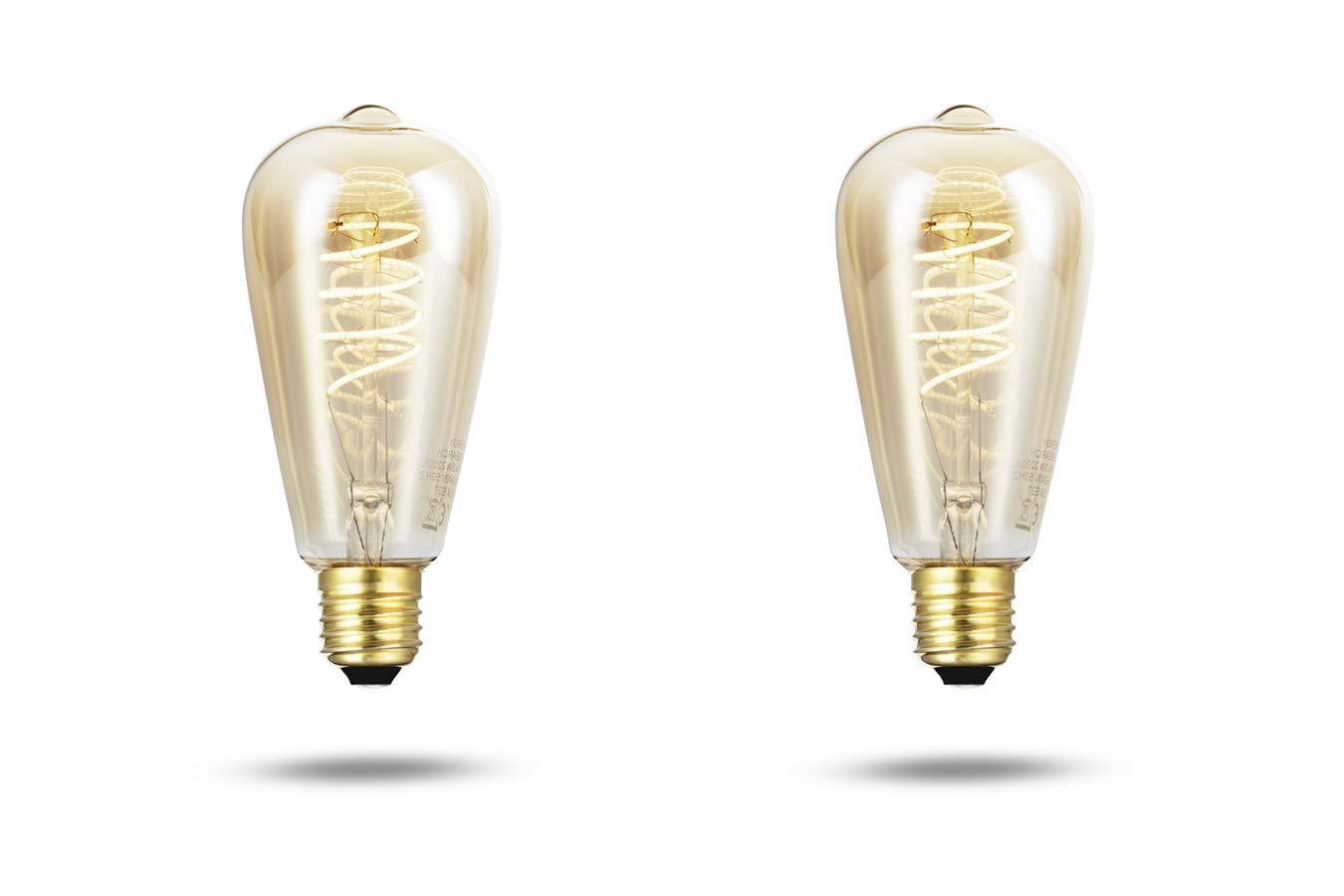 LED LOVERS Bombilla LED E27 con Filamento de Carbono I Juego de 2 bombillas de 5W y 350 lúmenes I Bombillas LED con Vida útil hasta 15000 horas I Luz ...