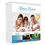 AdorioPower Full Size Mattress Protector, 100% Waterproof & Hypoallergenic Cover Cotton Terry Surface, Vinyl-Free Breathable, Machine Washable (White)