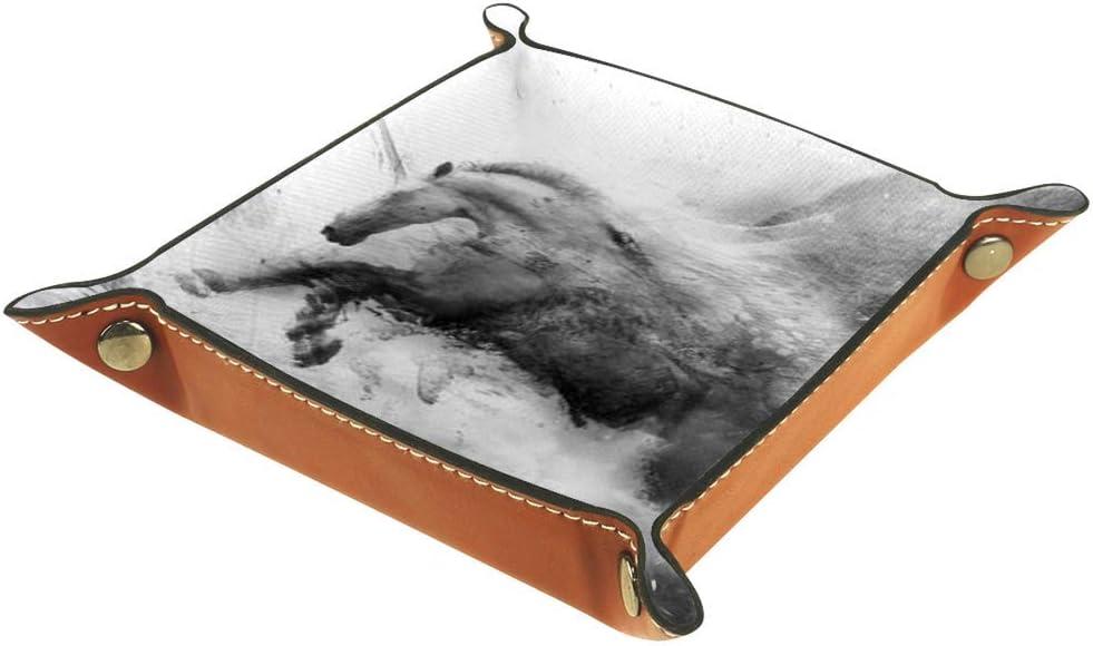 Caja de almacenamiento de cuero de la PU bandeja cuadrada para los dados juegos de mesa clave monedero caja bandeja de almacenamiento escritorio bandejas caballo paseo