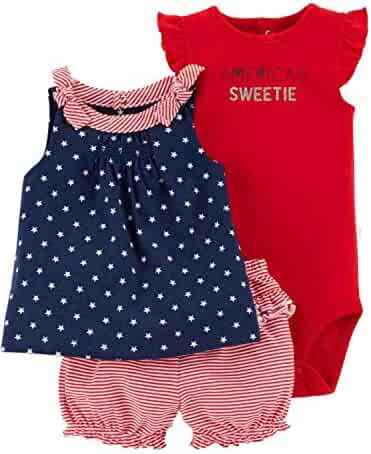 Carter s Infant Girls Patriotic Americas Sweetie Baby Outfit Shirt   Shorts  Red 8d5500e74