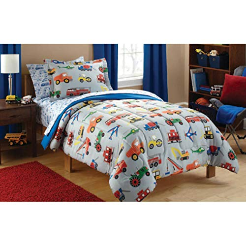 tion Themed Duvet Cover Set Twin, Vibrant Red Yellow Green Blue Kids Bedding Bedroom, Polyester, Work Trucks Fire Trucks Tractors Plains Trains Vehicles Printed ()