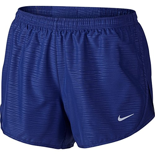 NIKE Womens 3 Tempo Modern Embossed Running Short Deep Royal Blue/Reflective Silver Shorts - Small