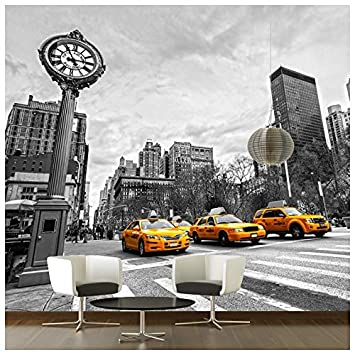 azutura New York Gelb Taxi Fototapete Schwarz-Weiss Tapete ...