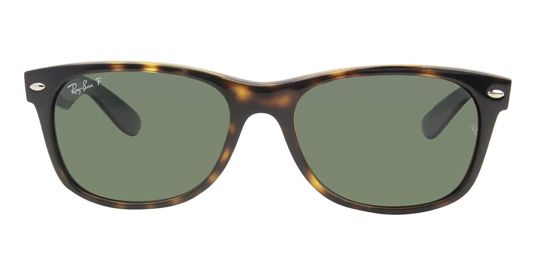 a4430a4a3e8 Amazon.com  Ray-Ban RB2132 Large New Wayfarer Polarized Sunglasses Shiny  Havana w Crystal Green (902 58) 2132 90258 55mm Authentic  Clothing