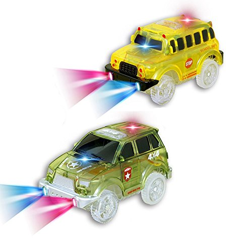 2 Pack Replacement Track Cars Light Up Toy Cars, 5 LED Flashing Lights Compatible with Most Tracks, Green Military Jeep and Yellow School Bus (Bendable Track Kit)