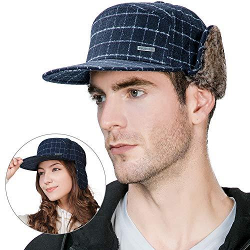 FancetAccessory Fur Earflap Baseball Cap Flat Bill Trapper Hat Winter  Fashion Unisex 56-60CM f670bc52f321