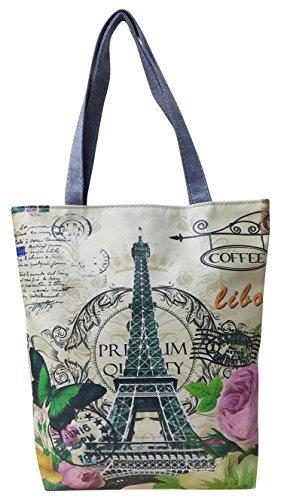 Print Canvas Shopper (Womens Girls Casual Canvas Designer Print Shopper Bag Satchel Tote Shoulder Handbag)