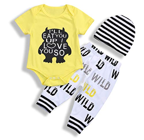 Toddler Baby Boy Monster Cartoon Letter Sleeve Summer Short Sleeve Jumpsuit Tops Pants Clothes Set]()