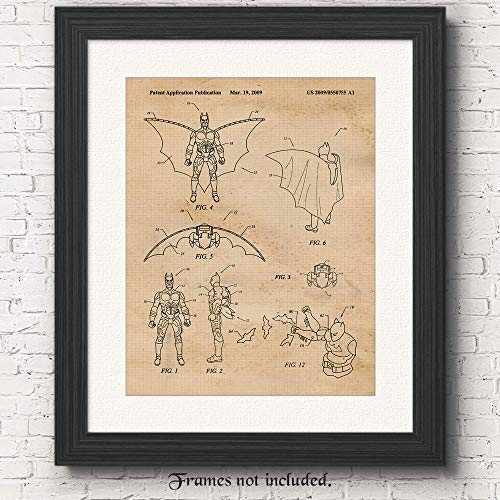 Original Batman Action Figure Patent Poster Print - Set of 1 (One 11x14) Unframed Picture - Great Wall Art Decor Gifts Under $15 for Men, Home, Office, Garage, Man Cave, Comic-Con & Movies Fan -