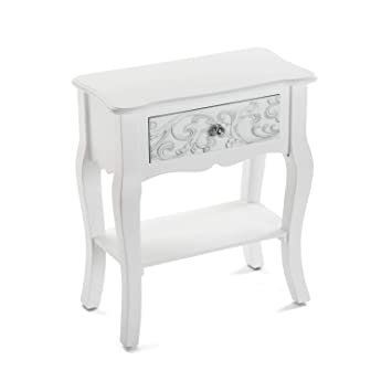 Versa Table De Chevet Baroque Blanche Anjali Amazon Fr