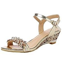 Royou Yiuoer Women Sandals Peep Toe Sequins Bling Rhinestones Slingback Kitten Wedge Sandals