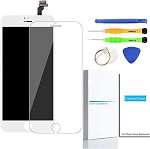 Compatible with iPhone 6 Screen Replacement (White), LCD Display Touch Screen Digitizer Frame Assembly Set with Repair Tools