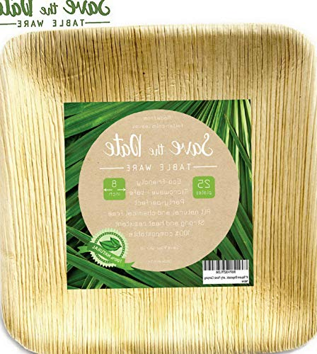 (Werrox 8'' Square Disposable Bamboo Areca Palm Leaf Plates (25Pack) Heavy Duty Sturdy Environmentally Safe Biodegradable Compostable Eco Friendly Elegant Rustic | Model WDDNG -3091 | 8 Inch Square)