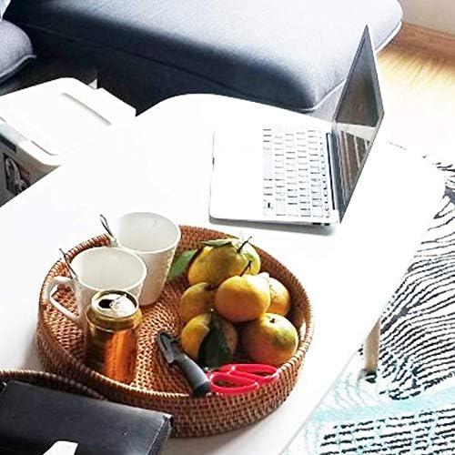 CUHAWUDBA Bandeja de Corte de Pared Alta Redonda Tejida a Mano de Rat/áN Bandejas de Almacenamiento de Alimentos Plato con Asas para el Desayuno Refrigerio para Mesa de Caf/é Bebidas S-30Cm