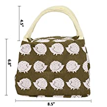 Molshine New Arrive Mini Canvas Insulated Bag, Mini Lunch Tote Bag Box Cooler Bag Silver Interior and With Zipper Picnic Cold Drink Insulation Freezable Keep Food and Drinks Cool (Insulated Bag) (Hedgehog)