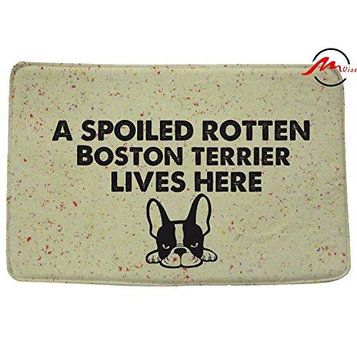 ZMvise A Spoiled Rotten Boston Terrier Lives Here Non-slip Bath Rug Floor Door Mats Front Entry Carpet Indoor Outdoor Doormat 15.7x23.6 Inch