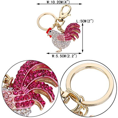 EVER FAITH Women's Austrian Crystal Rooster Keychain Pink Gold-Tone by EVER FAITH (Image #3)