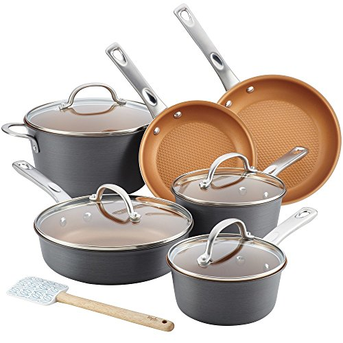 Ayesha Curry Home Collection Hard Anodized Aluminum Cookware Set, 11-Piece includes 10.5-inch Silicone ()
