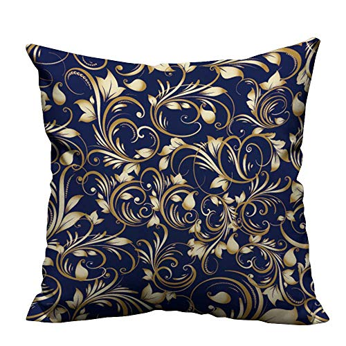 YouXianHome Home Decor Pillowcase Paisley backgroun Wallpaper Vintage Durable Polyester Fabric(Double-Sided Printing) 17.5x17.5 inch