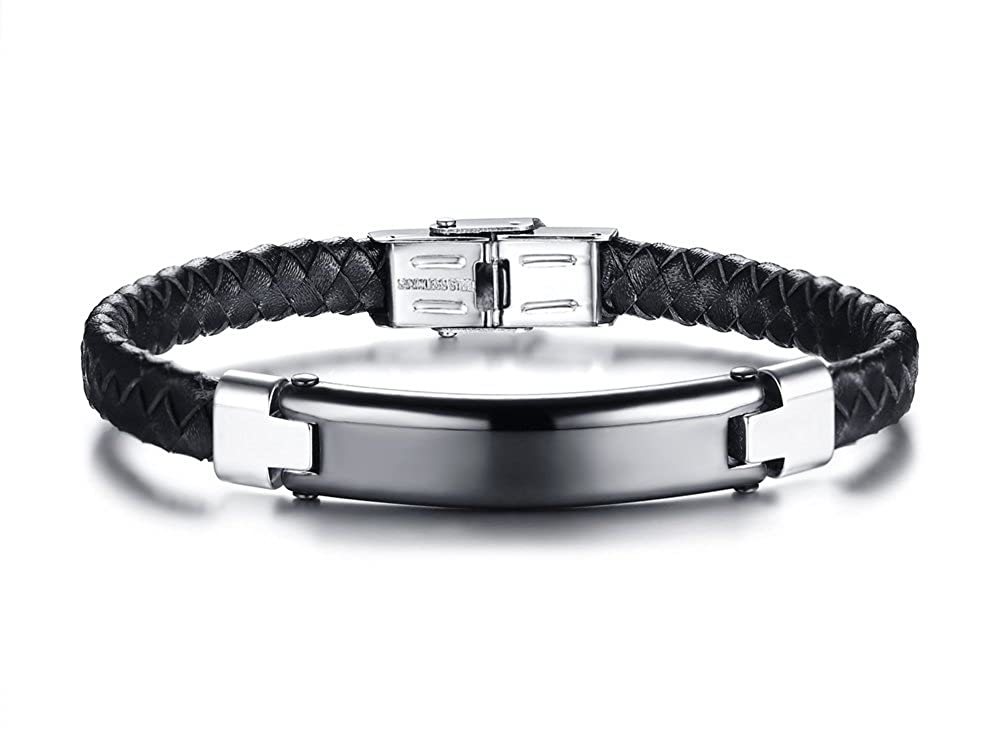 VNOX Personalized Bracelet Handmade Braided Genuine Leather Black Stainless Steel ID Tag Adjustable Wristband VNOX Jewelry BL-422B+KZ