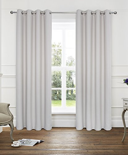 Alexandra Cole 2 Panels Thermal Insulated Solid Grommet 45x84 Inches Blackout Solar Curtains Natural Embossed Herringbone Design Pattern