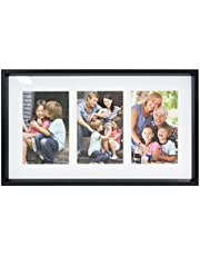 Stonebriar Decorative Black Collage Frame with 3 Openings for 4x6 Photos, Unique Picture Frame for Family, Baby, or Wedding Photos, Comes with Attached Back Easel and Mounting Hardware