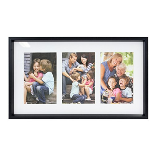 Stonebriar Decorative Black Collage Frame with 3 Openings for 4x6 Photos, Unique Picture Frame for Family, Baby, or Wedding Photos, Comes with Attached Back Easel and Mounting ()