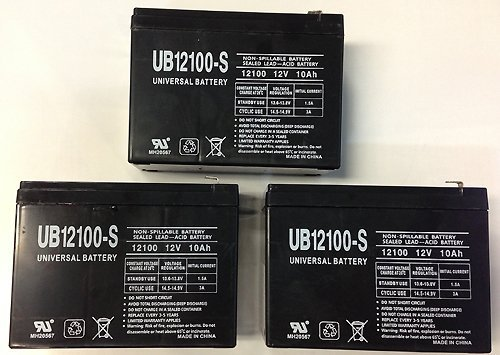 12V 10Ah Scooter Battery Replaces BB Battery BP10-12 T2, BP10-12T2 - 3 Pack by Universal Power Group