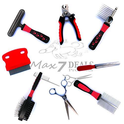 Max7Deals Pet Grooming Brush Comb Kit Home Cat Dog Set 7-Piece w/Bonus Trimming Scissors 2018 (Set Comb Dog)