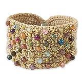 NOVICA Hand Crocheted Wristband Cuff Bracelet with