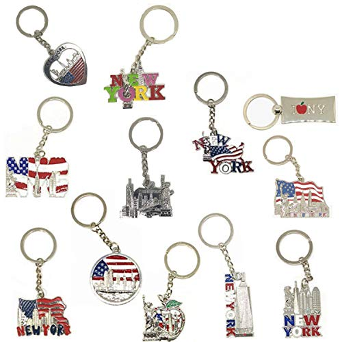 Usa Gift Tower - 12 Pack New York NYC Metal Keychain Ring Bundle Souvenir Collection, Gift Set – Includes Empire State, Freedom Tower, Statue Of Liberty, USA Flag, And More